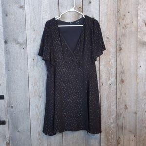 Madewell Cape-Sleeve Mini Dress in Metallic Dots